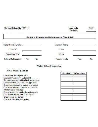 printable preventive maintenance checklist