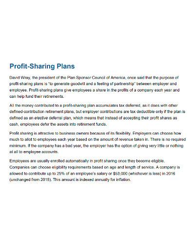 printable profit sharing plan