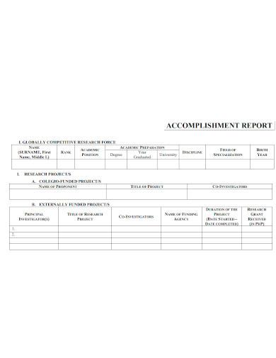 printable research accomplishment report