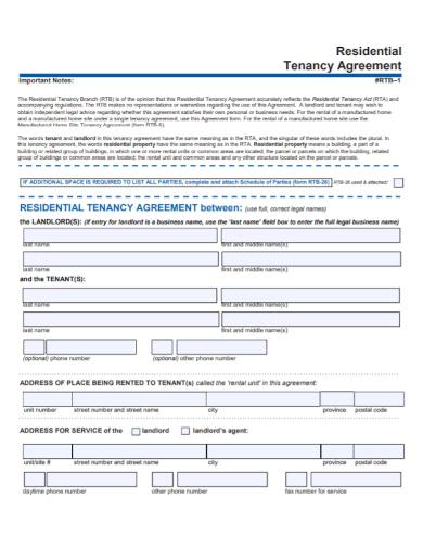 printable residential tenancy agreement