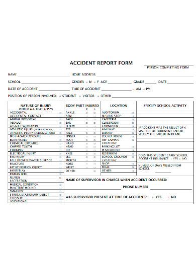 printable school accident report form