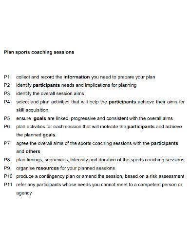 printable sports coaching plan