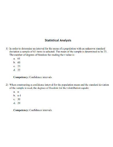 printable statistical analysis