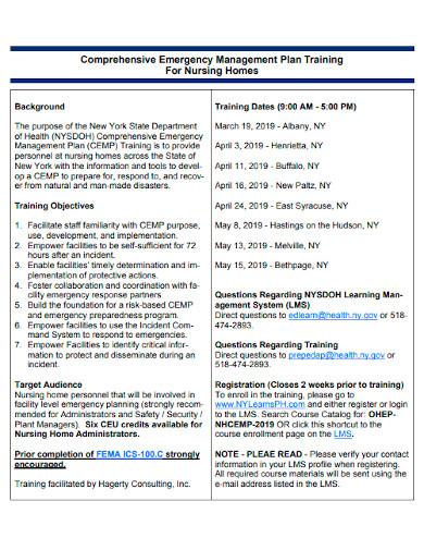 printable training management plan