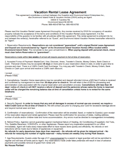 printable vacation rental lease agreement