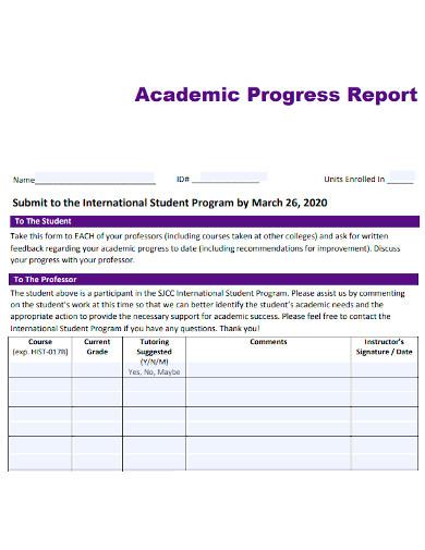 professional academic progress report