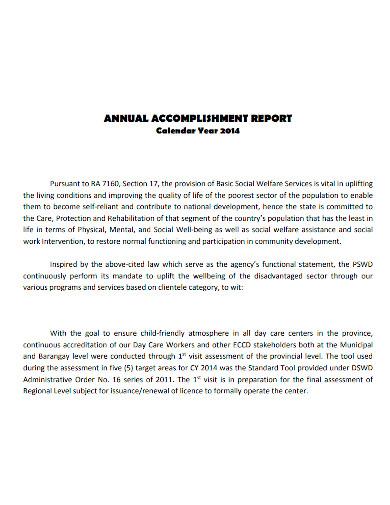 professional annual accomplishment report