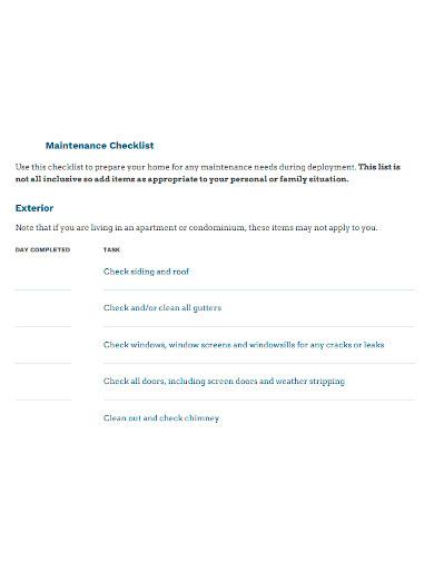 professional apartment maintenance checklist