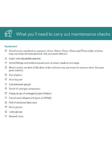 professional car maintenance checklist