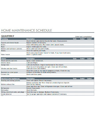 professional home maintenance schedule