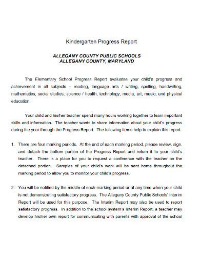 professional kindergarten progress report