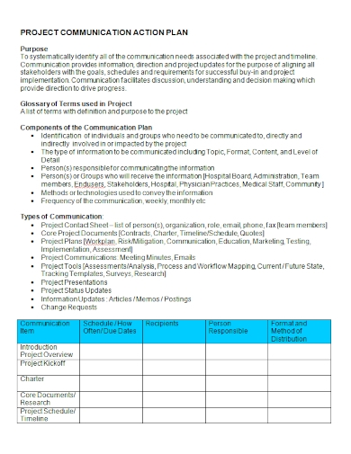 project communication action plan