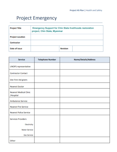project emergency health and safety plan