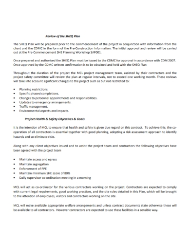 project goals health and safety plan