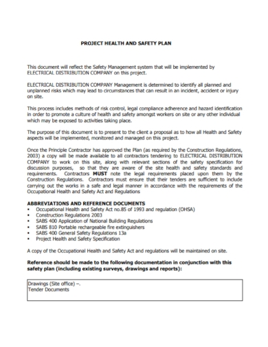 project health and safety management plan