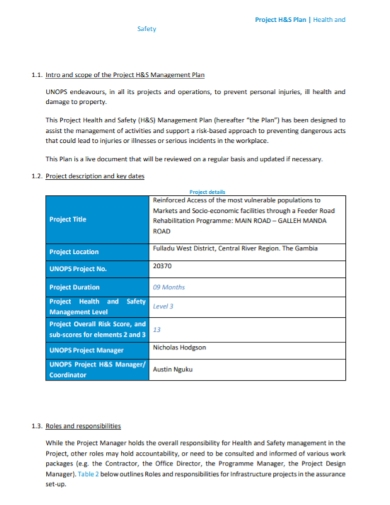 project health and safety management plans