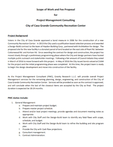project management consulting fee proposal