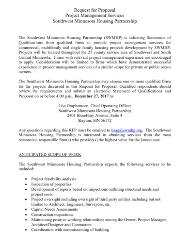 project management partnership proposal