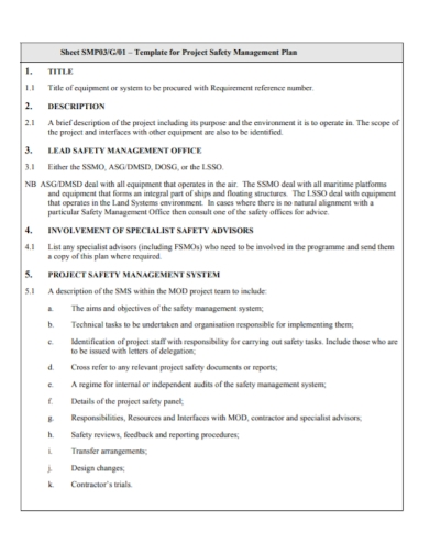 project safety management system plan