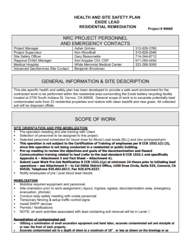 project site health and safety plan