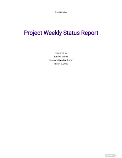 project weekly status report sample