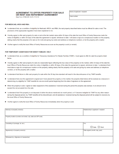 property sale offer repayment agreement