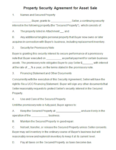 property security asset sale agreement
