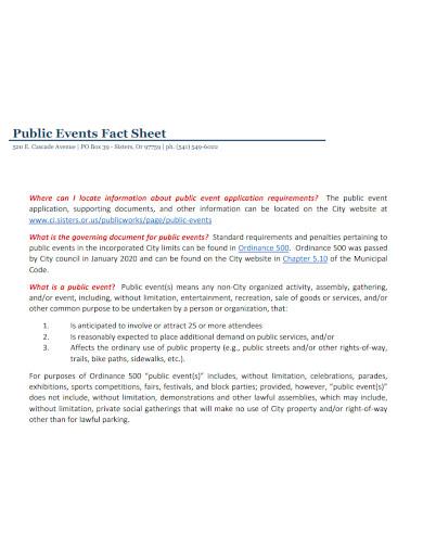 public event fact sheet