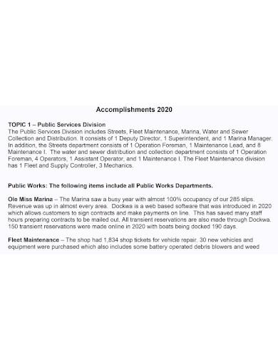 public work accomplishment report