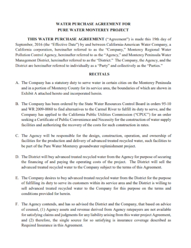 pure water project purchase agreement