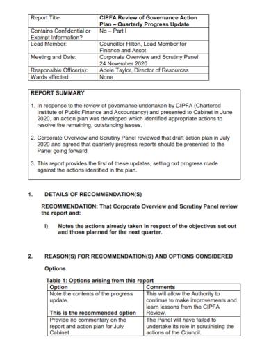 quarterly action plan progress summary