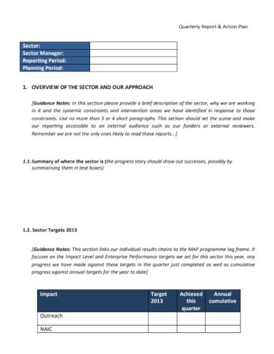 quarterly report action plan