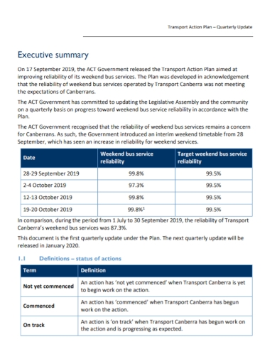 quarterly transport action plan