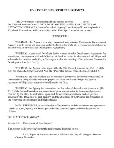 real estate agency development agreement