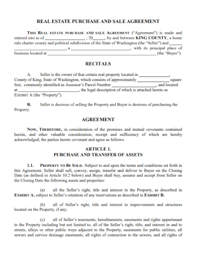 real estate asset purchase and sale agreement