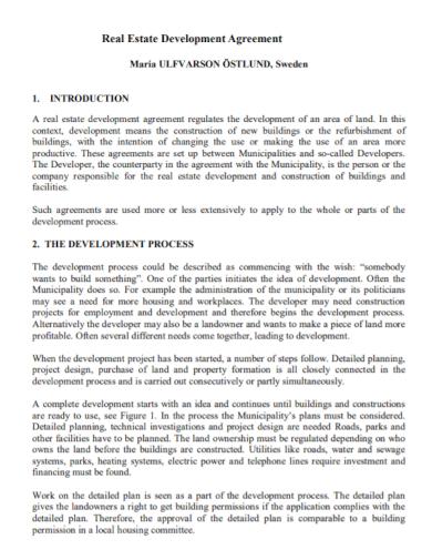 real estate development agreement