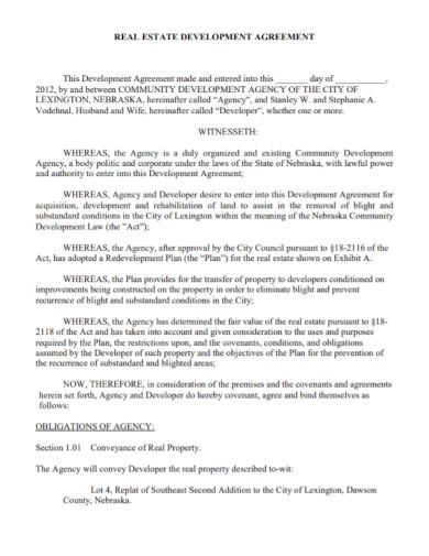 real estate land development agreement