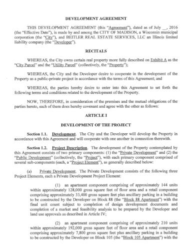 real estate services development agreement