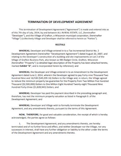 real estate termination of development agreement