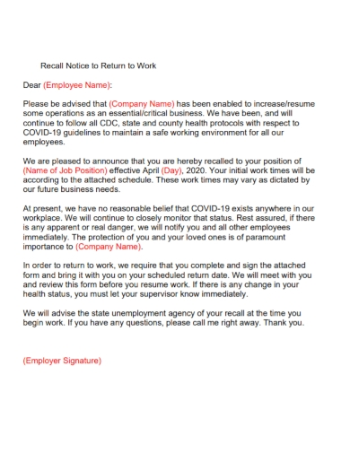 recall notice to return to work