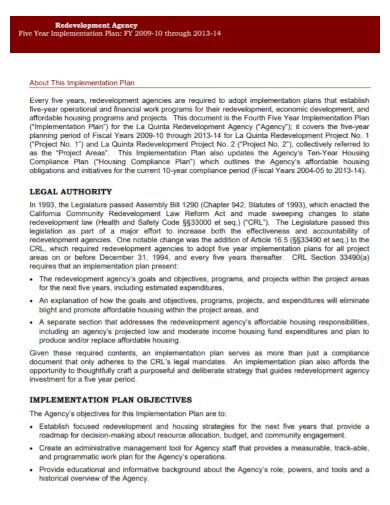 redevelopment agency implementation plan