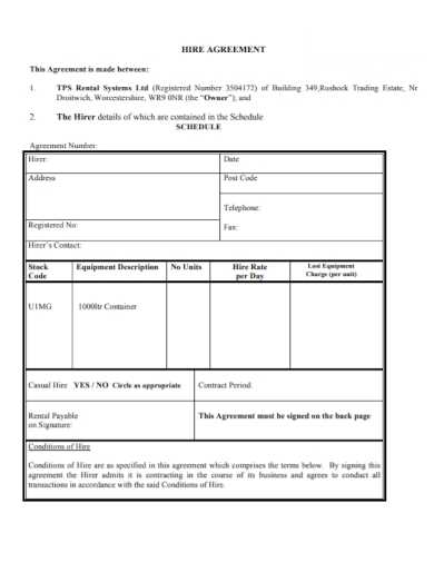 rental system hire agreement