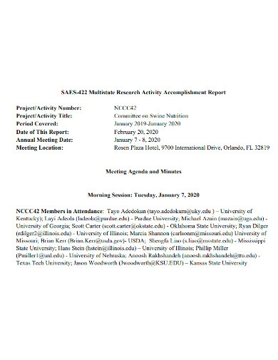 research activity accomplishment report