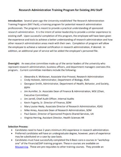 research administration staff training program