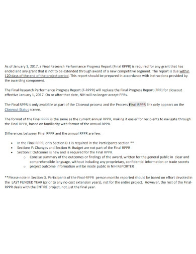 research performance progress final report