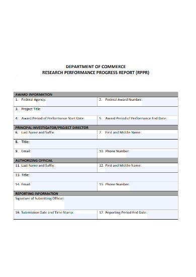 research performance progress report form