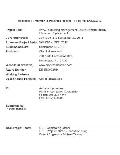 research performance progress report format