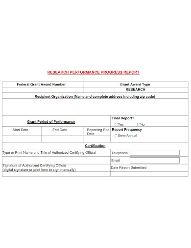 research performance progress report sample