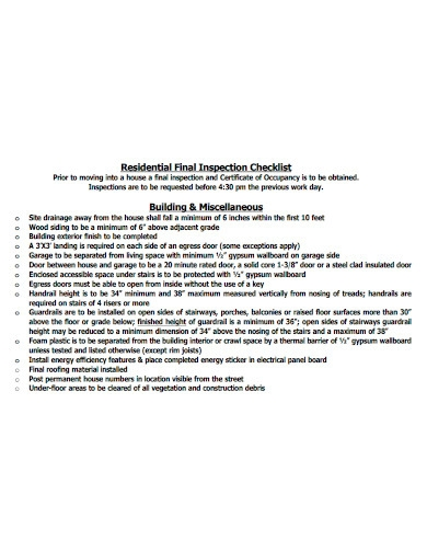 residential building inspection checklist