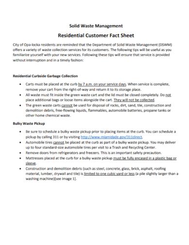 residential customer fact sheet